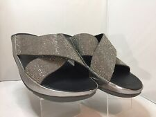 Fit Flop Silver Leather Jeweled Cross Strap Slide Sandals Shoes Women's 9
