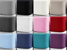 """100% Soft Brushed Cotton Flannelette 25CM/10"""" Fitted Sheets in 12 Colours"""