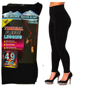 LADIES WOMEN THERMAL LEGGINGS FLEECE LINED WINTER TIGHT THICK BLACK 4.9 S-XXL