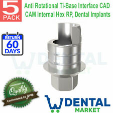 5x Anti Rotational Ti-Base Interface CAD CAM Internal Hex RP, Dental Implants