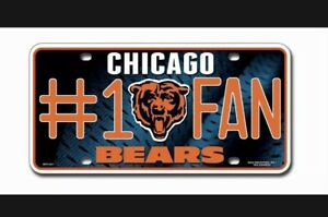 Chicago Bears #1 Fan Metal Sign License Plate Tag Man Cave NFL