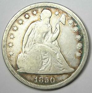 1850-O Seated Liberty Silver Dollar $1 - VF Details - Rare New Orleans Coin!