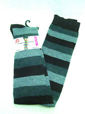 Pair womens cotton blend over the knee thigh socks 9-11 brown gray stripes