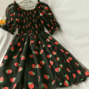 Frilled Lolita Mesh Dress Shiny Strawberry Off Shoulder Puffy Sleeve Fairy UK