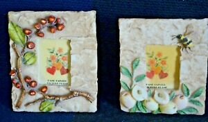 1980s Photo Frame Set Berries Bee Peach Small Lot 2 Handpainted Resin