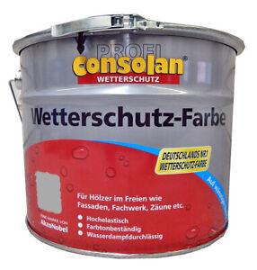 (10,50€/1l) CONSOLAN PROFI Wetterschutz Farbe GRAU seidenglänzend 10 Liter