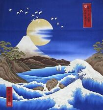 Japanese Cotton Fabric Kona Bay Panel Birds Mt Fuji Gold Moon and Waves Blue