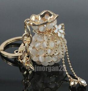 Vintage Mother Of Pearl Rhinstone Purse Keychain Handbag Charm.