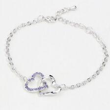 Women Lady Fashion purple Crystal Charm Heart To Heart Bracelets Bangle Chain