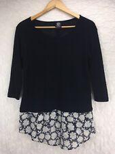 Bobeau Black White Floral Hem Daisy 3/4 Sleeve Knit Top Shirt Blouse Sz S Small