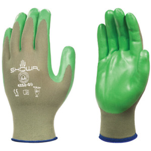 SHOWA Biodegradable Eco Best Spongy Nitrile Coated Green Gloves