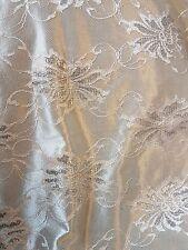 1M floral Beige gold satin lace Sparkly BRIDAL DRESS   FABRIC.BACK CREPE 58 wide