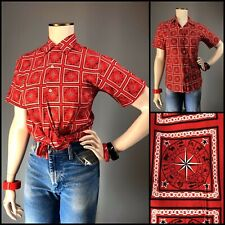Vtg 60s Zodiac Novelty Print Cotton Shirt Blouse Red Loop Collar HOROSCOPE EXC
