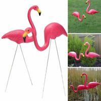 2 Pcs Plastic Pink Flamingo Statue Outdoor Lawn Yard Garden Decor Art Ornaments