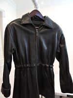 Wilsons Leather Pelle Studio 100% Leather Black Lined Fully Zippered Jacket - XS