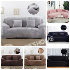 1/2/3/4 Seater Plush Elastic Sofa Covers Slipcover Stretch Protector solid color