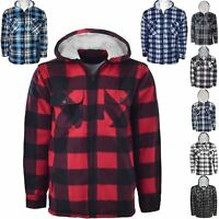 MENS HOODED FLEECE LINED SHERPA LUMBER JACK HOODIE THICK WARM WINTER CHECK TOPS