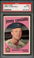 1959 Topps BB Card #451 Jimmy Constable Washington Senators PSA NM-MT 8 !!