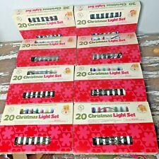 Lot of 8 Vintage 20 Light Sets Indoor Outdoor Christmas Lights String Color Box