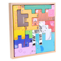 Wood 3D Animal Block Jigsaw Puzzle Board Montessori Educational Building Toy