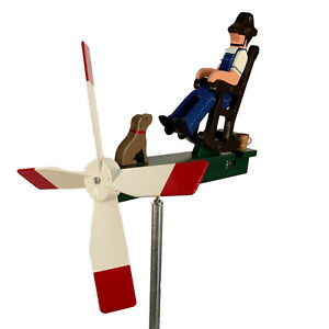 Man Rocking Chair with Dog Whirligig Lazy Summer Day Handmade in USA
