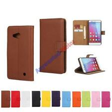 Wallet Genuine Leather Flip Plain Stand Case Cover For Nokia Microsoft Lumia 550