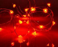 Red Love Heart Shaped Fairy Craft Lights Battery Operated 20 Bright LED String