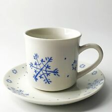 Gibson Snow Festival Blue Snowflake Cup & Saucer