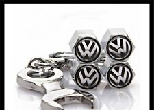 VOLKSWAGEN DUST CAPS SET OF 4 VALVE DUST CAPS SPANNER KEYRING SET GOLF POLO BORA