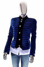 Valentino Black & Blue Italian Silk Jacquard Rhinestone Blazer Jacket 44 - $995