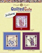 Mill Hill Jim Shore Beads Button Cross Stitch Set of 3 ~ QUILTED CATS #14-8400