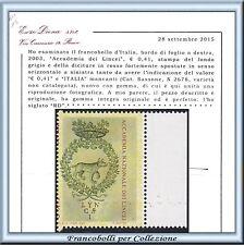 2003 Italia Repubblica Accademia Lincei Varietà RARO Cert Diena Nuovo Integro **