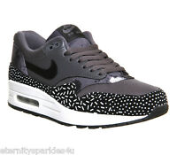 NIKE AIR MAX 1 DARK GREY, BLACK, WHITE PRINT RIBBON LACES WOMENS LADIES TRAINERS
