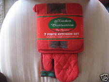 Christmas Linens, Holiday Baking, 7pc Pot holders, Kitchen Towels, Oven Mitt