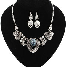 Jewelry Rhinestone Alloy Mixed Blue Heart Charm Necklace Earring Set Silver x