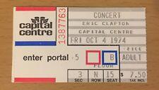 1974 Eric Clapton Washington D.C. 10/4 Concert Ticket Stub 461 Ocean Boulevard