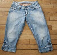 KAPORAL 5 Pantacourt en Jeans Femme W 28 Taille Fr 36 COPA  (Réf #V153)