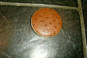 Vintage Retro 50s Gold Tone Metal Brown Leather Powder Compact/Mirror-Collect