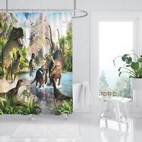 3D Dinosaurier 254 Duschvorhang Wasserdicht Faser Bad Daheim Windows Toilette DE