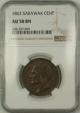 1863 Sarawak 1c One Cent Copper Coin NGC AU-58 Brown