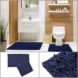 TUMBLE TWIST LOOP Navy Cosy Soft 100% Cotton Bath Mat Pedestal 2-Piece Bath Set