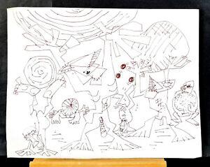 "Art Drawing, 14 5/8 X 17 3/8"" Brown Ink Fantasy, W.G. Mutch, Seattle Artist"