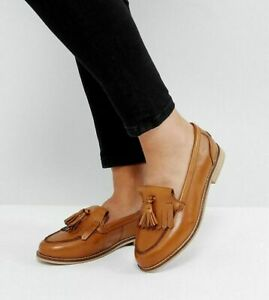 WOMENS LADIES GIRLS ASOS MAXWELL LEATHER LOAFERS FLAT CASUAL WORK SHOES SIZE 2-9