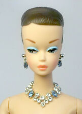 Barbie Doll Vintage Handmade Light Blue Necklace Earrings Jewelry Set NE100075