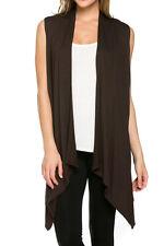 USA Women Open Front Vest Long Tunic Top Shawl Collar Draped Cardigan S M L XL