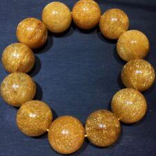 19.2mm Natural Hair Rutilated Quartz Crystal Round Beads Bracelet AAAA