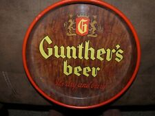 Gunther's Beer Round Metal Tray Logo It's Dry and Beery Litho Baltimore Brewery