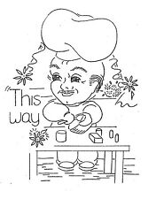 Vintage Embroidery transfer repo 3564 Chefs for Kitchen tea or dish towels 1950s