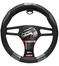 SUMEX RACE SPORT SOFT GRIP CAR STEERING WHEEL COVER-NERO & GRIGIO CARBONIO #MM 1