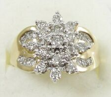 10K Yellow White Gold 2 Carat Total Weight Diamond Cluster Ring Flower Sze 6.75
